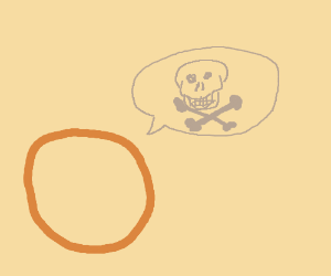 Orange circle saying death