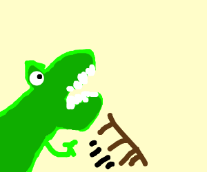 dinosaur happily tips over a table