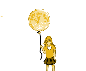 Girl holding a moon balloon