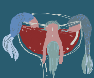 Shrimp cocktail but with mermaid bodies...