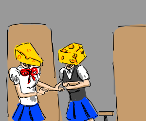 School Girl Anime but their heads are cheese