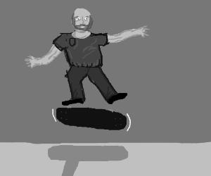 Old man doing sick skateboard tricks
