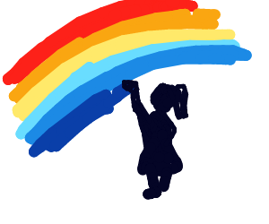 little girl paints a rainbow