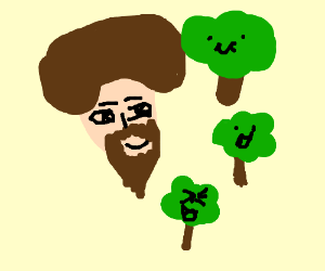 Bob Ross and happy little trees