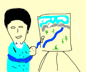 Fake Bob Ross with black hair