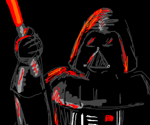 Darth Vader with a red lightsaber