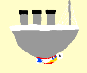 A blue girl is crushed by a boat
