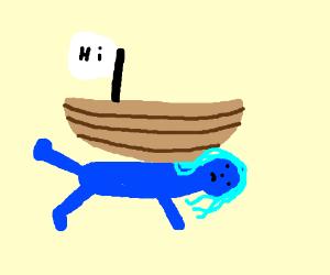 boat on a blue curvy lady with a hi flag