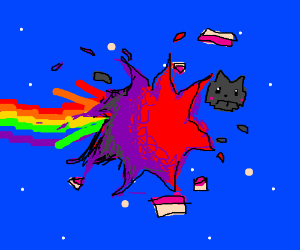 Oh no! Nyan cat exploded into jelly