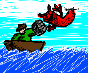 Man on boat battles sky devil with rock fists