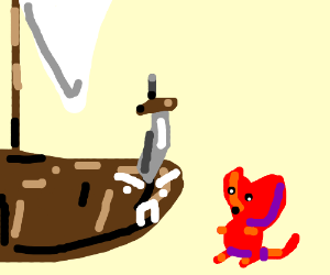 Cute smol demon attacking a sentient sailboat