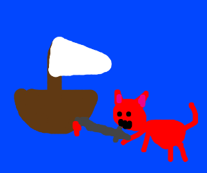 A red cat stabbed a sailboat