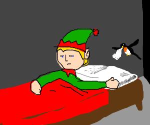 grumpy sick elf gets tissues from a bird