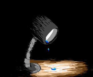 A desk lamp is crying