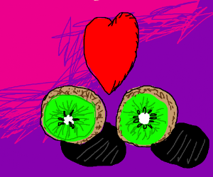 Two kiwis (the fruit) in love.