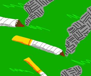 Burning cigarettes on ground