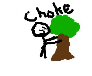 angry man choking small tree