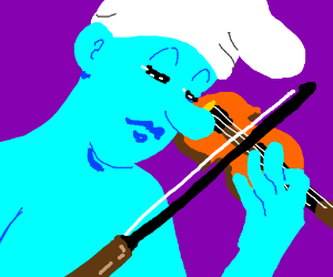 Smurf playing the violin