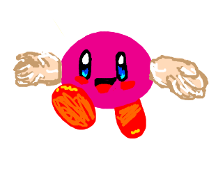 kirby with no gloves on