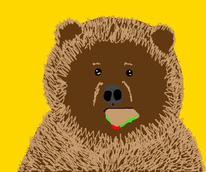 a bear eating a sandwich