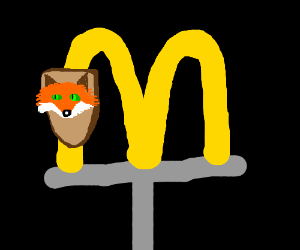 A fox head mounted on McDonald's sign