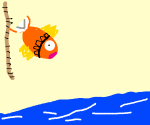 Magikarp sliding down a rope into the water