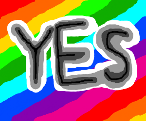 the word yes in front of a rainbow background