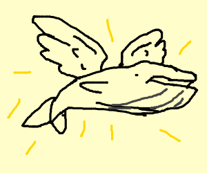 A majestic flying whale with angel wings :)