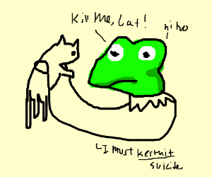 kirmit the frog wants cat to kill him