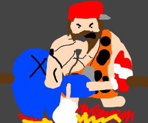 Caveman Mario Roasts Sonic