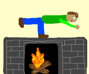 The guy is standing ON his fireplace