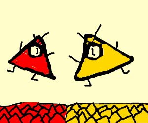 Red triangle army vs yellow triangle army