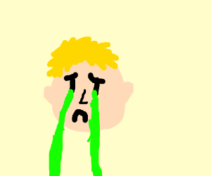 Yellow haired kid cries acid