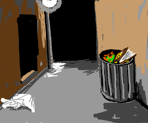 book in trash can