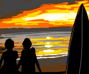 2 guys sit at the beach to watch the sunset
