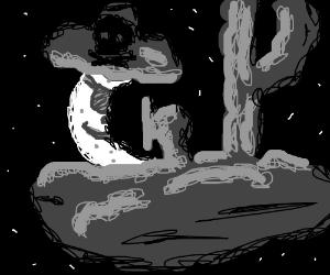 The moon has become a sailor