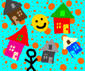 5 houses, a face, a dude, and a bunch of dots