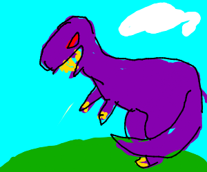 purple dinosaur with yellow claws and teeth