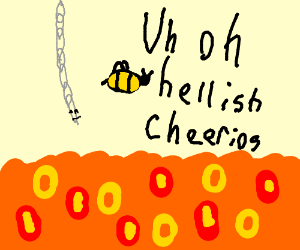 A chain trying to help half a bee from lava
