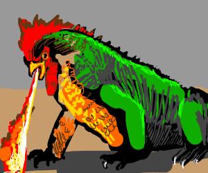 Giant fire breathing chicken lizard