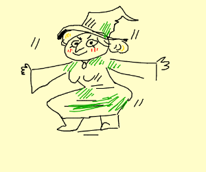 Squatting witch in green is N I C E