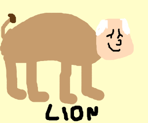 Lion with an old man's head
