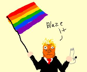 LGBTI+ flag high Trump