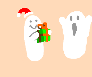 Merry Ghostmas , ghost friends give gifts
