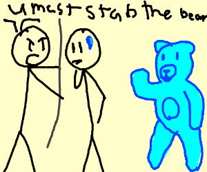 You must Stab the big blue bear with a javelin