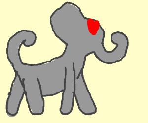 Elephant-dog hybrid in love