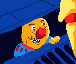 Yellmo the clown will invite you into sewer