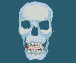 Skull with pack of cigaretts in there teeth