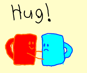 Red cups hug