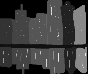 The Manhattan skyline at night